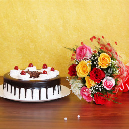 Combo of 10 Mixed Roses Bouquet & Half kg Black Forest Cake